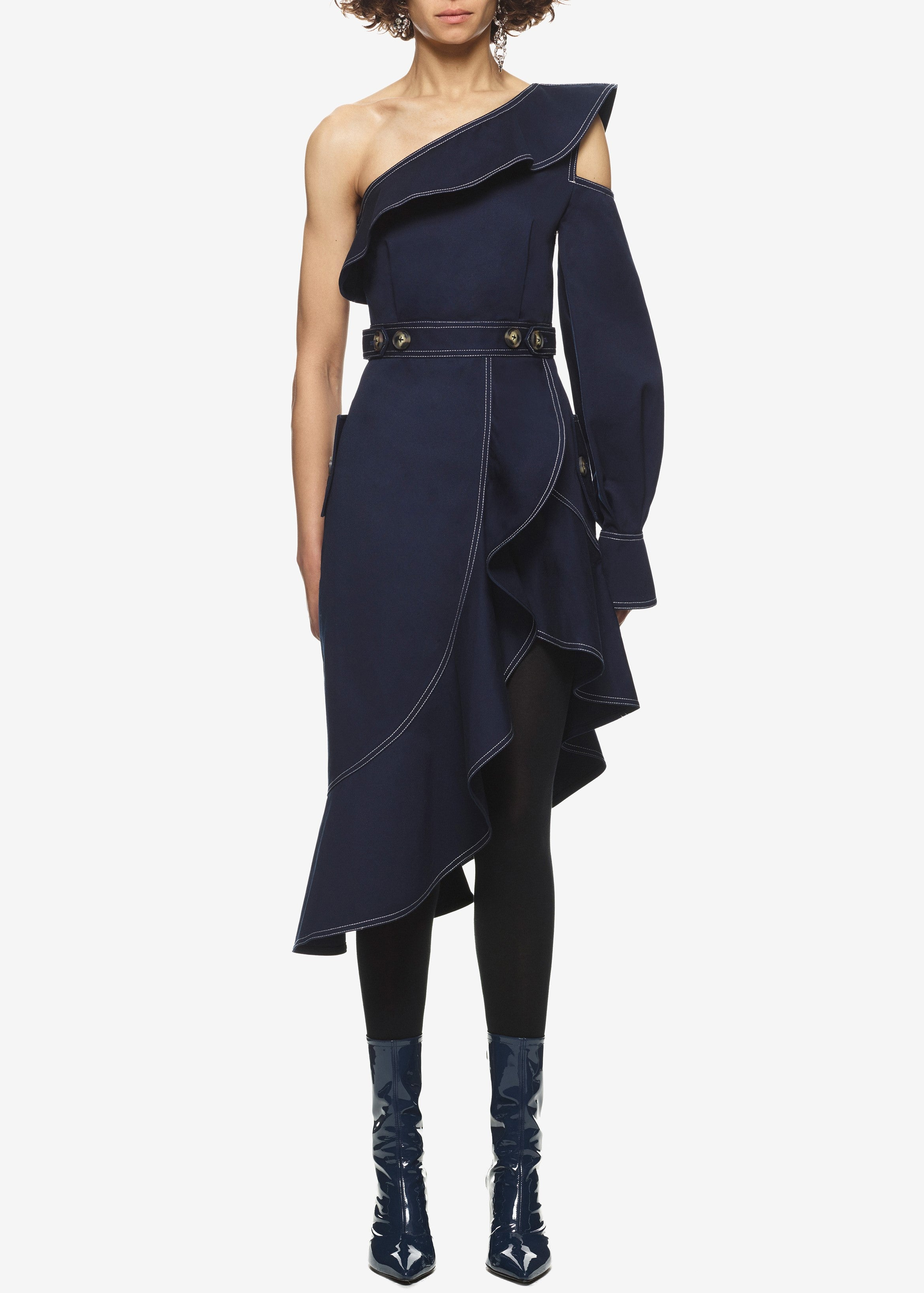 Self Portrait canvas asymmetric frill dress navy