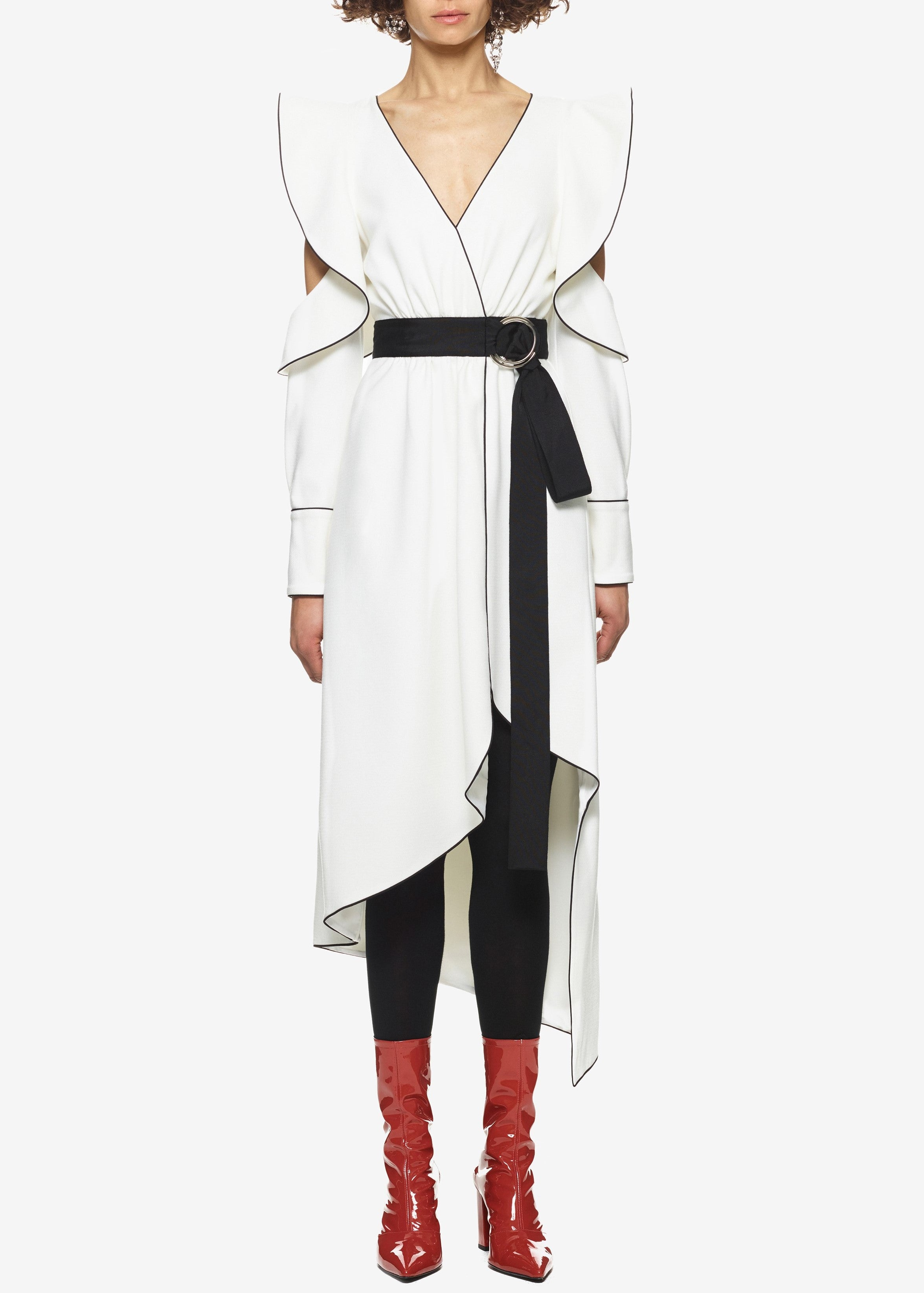Self Portrait asymmetric wrap dress white
