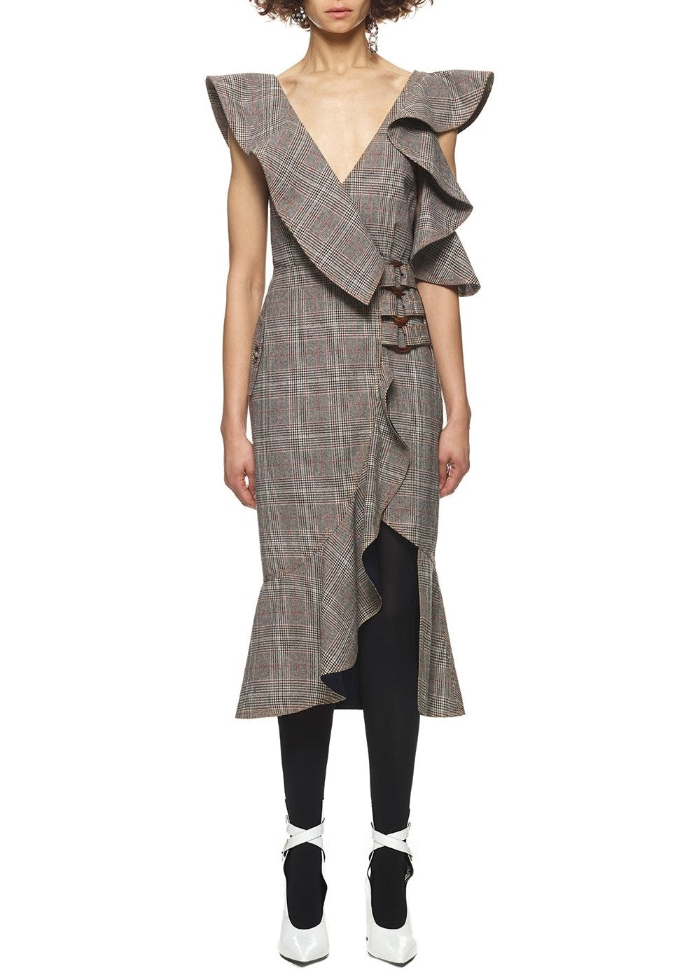 Self Portrait wool check wrap dress