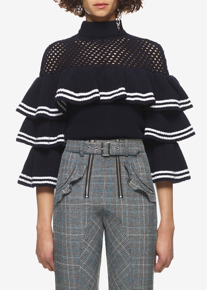 Self Portrait striped frill sweater navy