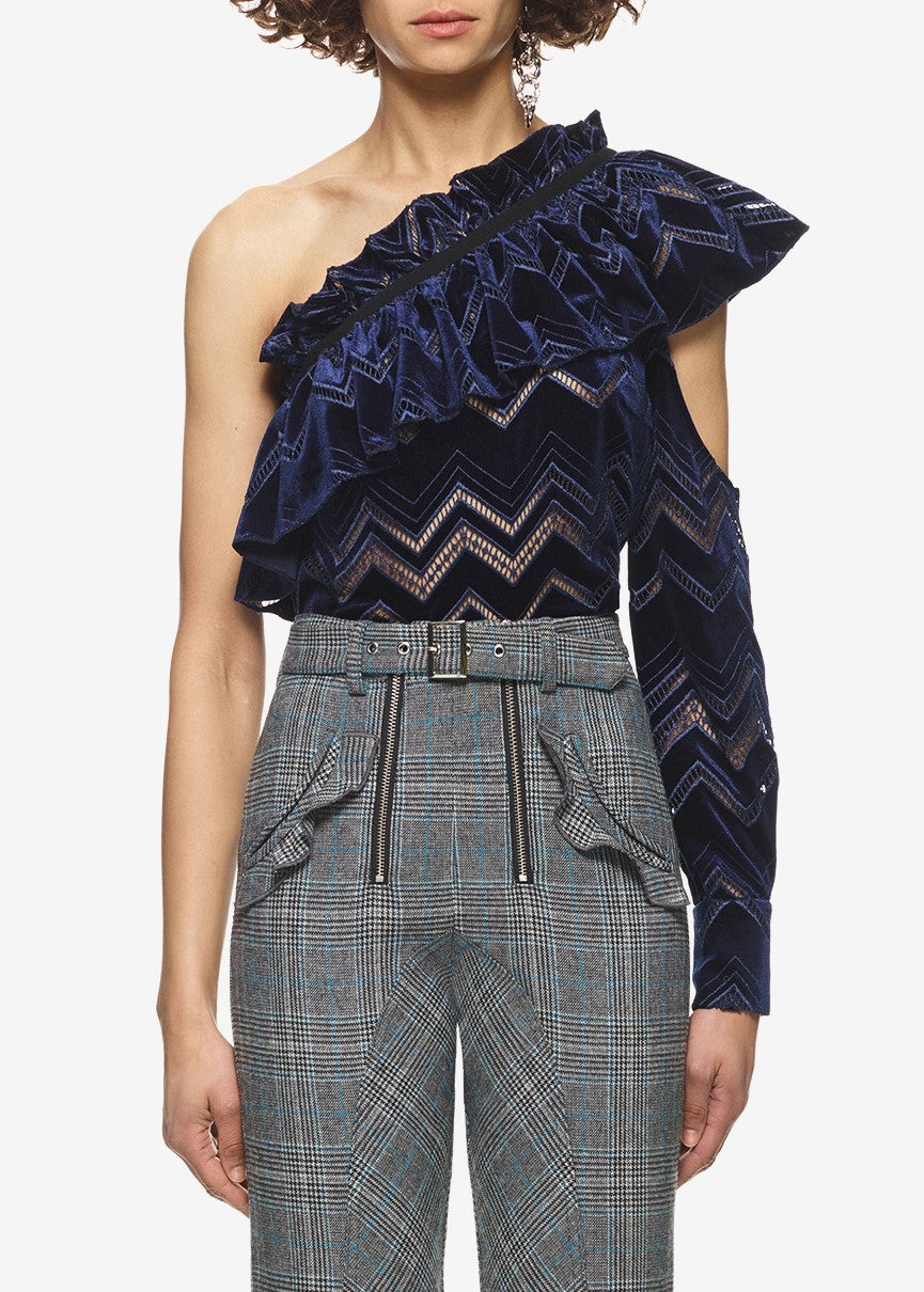 Self Portrait zig zag embroidered velvet top navy