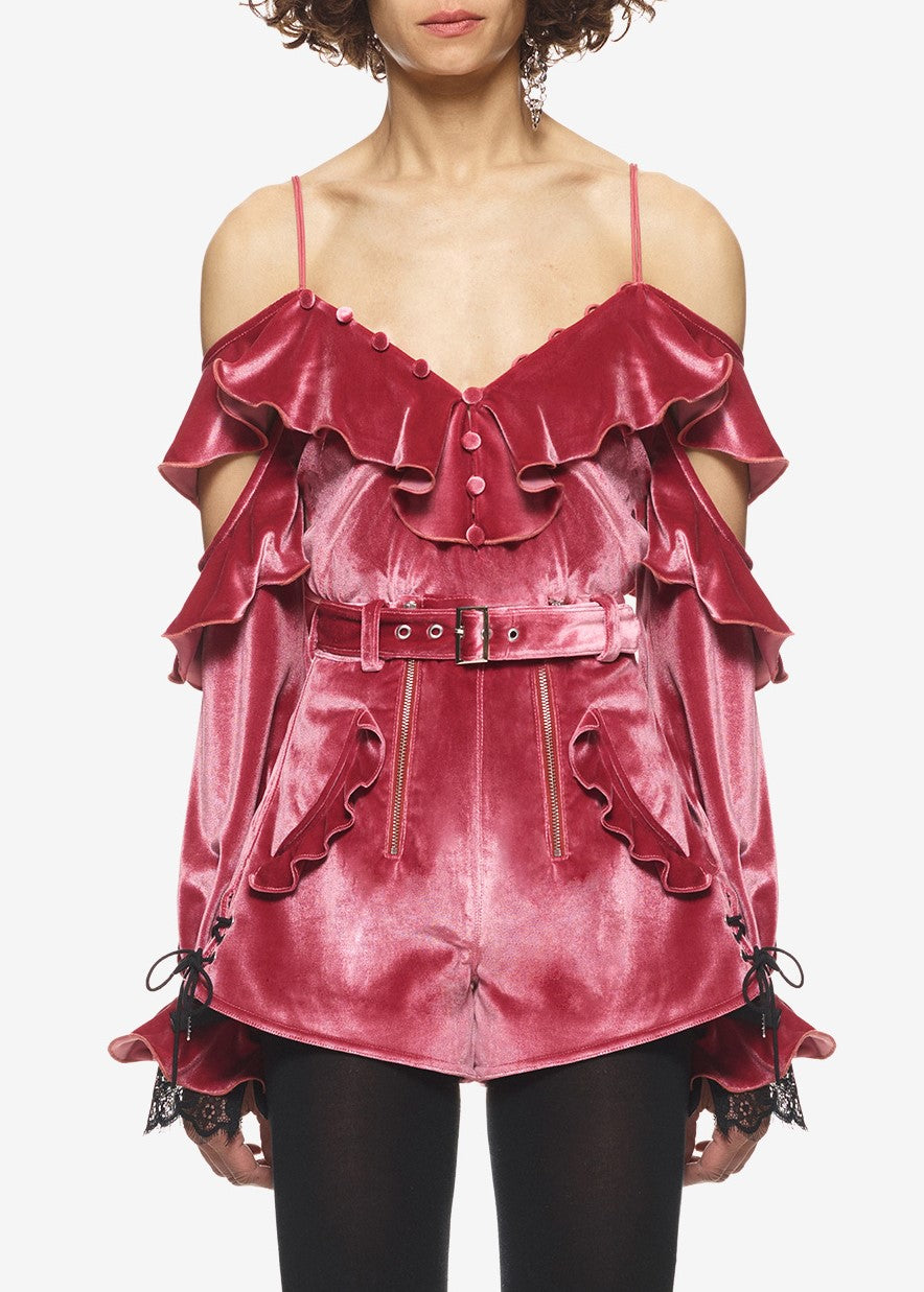 Self Portrait velvet off shoulder frill top pink