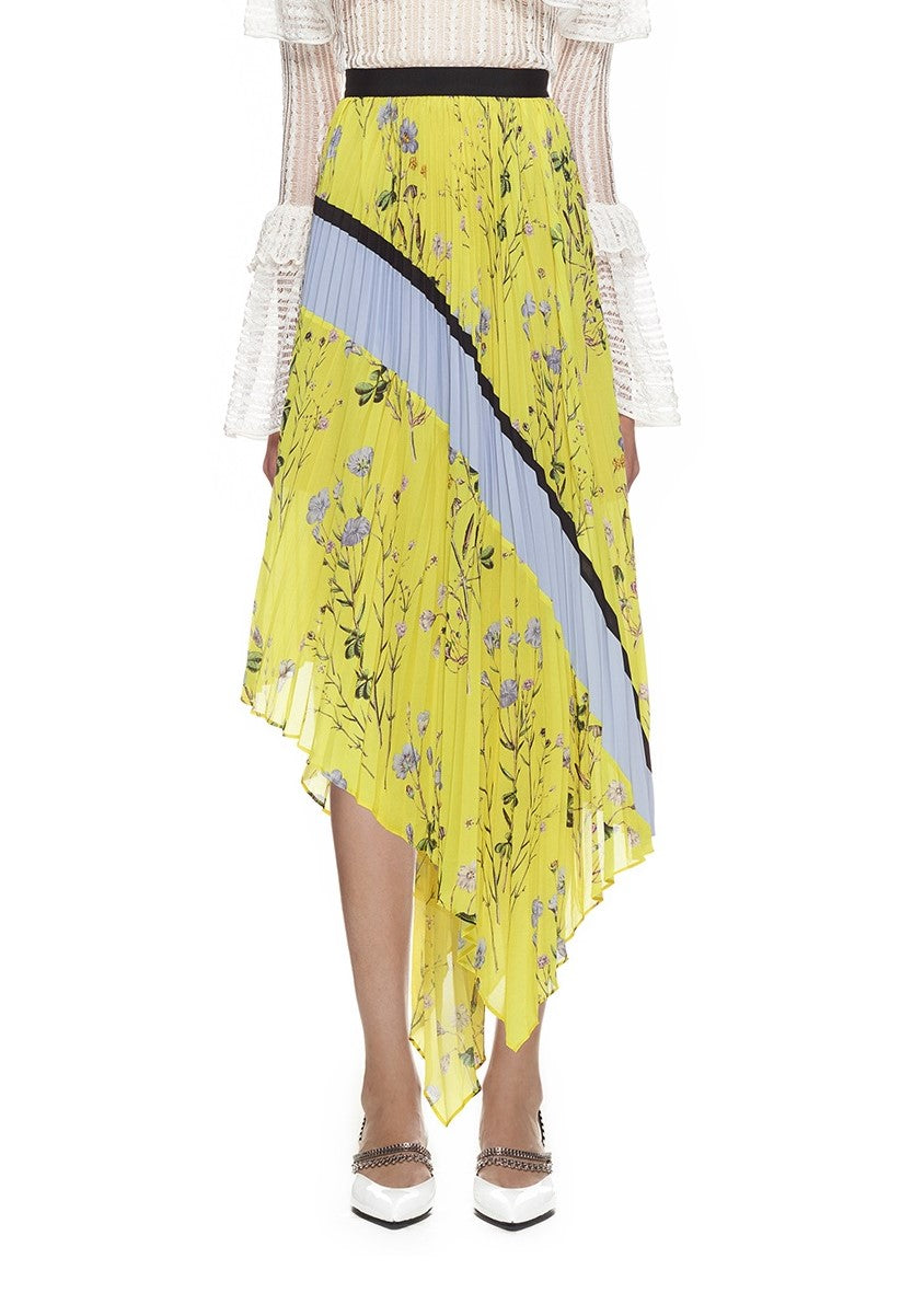 Self Portrait Pleated Asymmetric Floral Printed Skirt in yellow