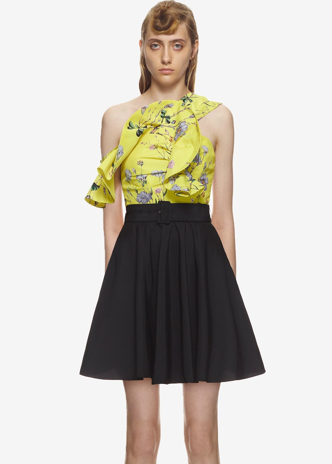 Self Portrait Floral ruffle dress in yellow black