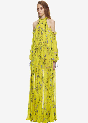 Self Portrait Floral cold shoulder dress in yellow