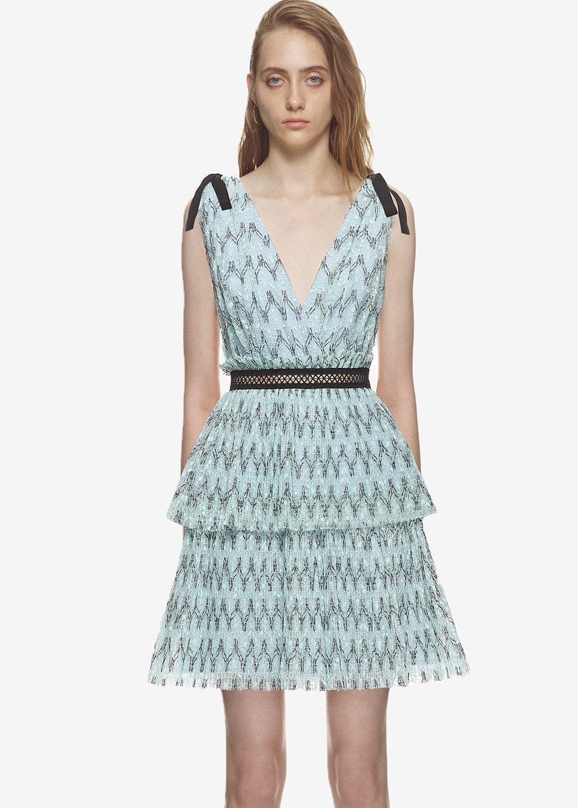 Self Portait Metallic pattern mesh mini dress in baby blue