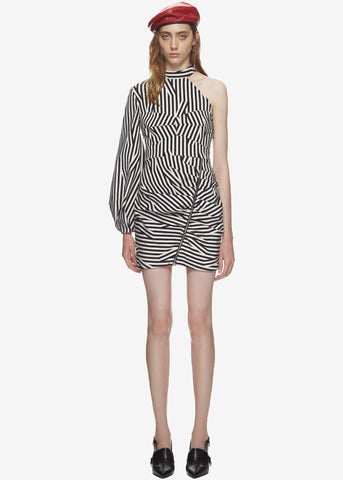 Self Portrait Abstract stripe corset dress in black and white