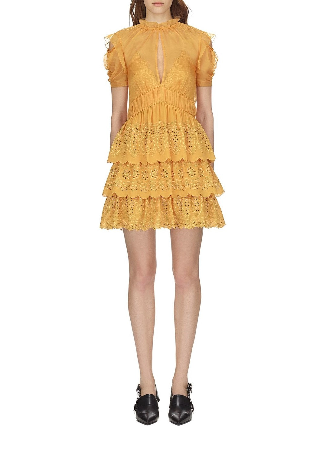 Self Portrait embroidered chiffon tiered mini dress in mustard