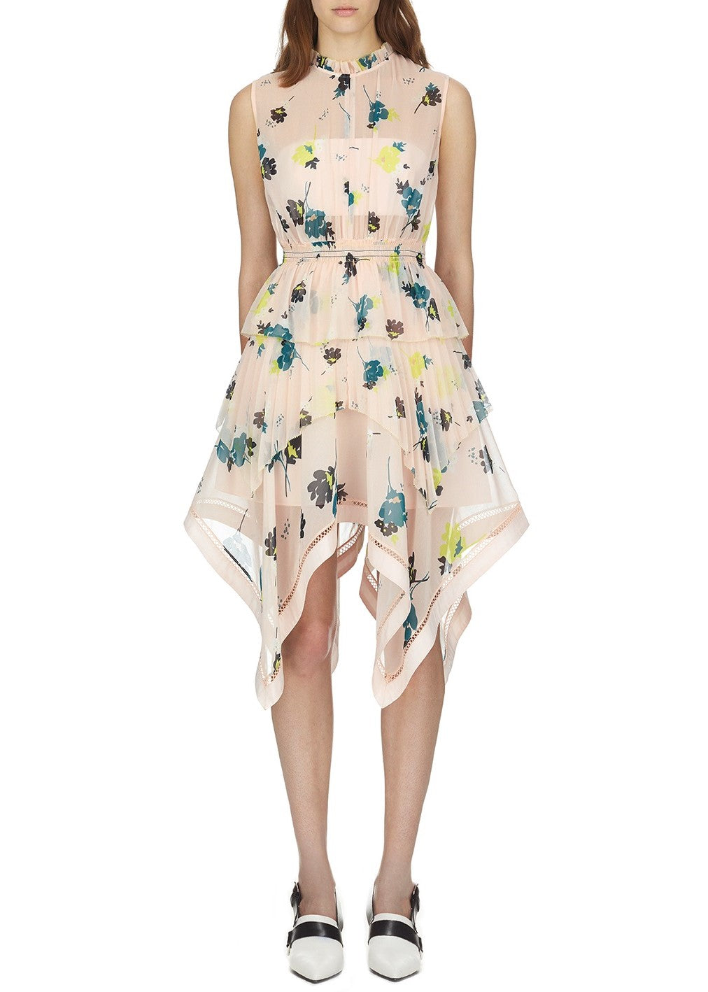 Self Portrait asymmetric graphic floral print dress in pink