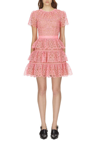 Self Portrait tiered lace mini dress in pink