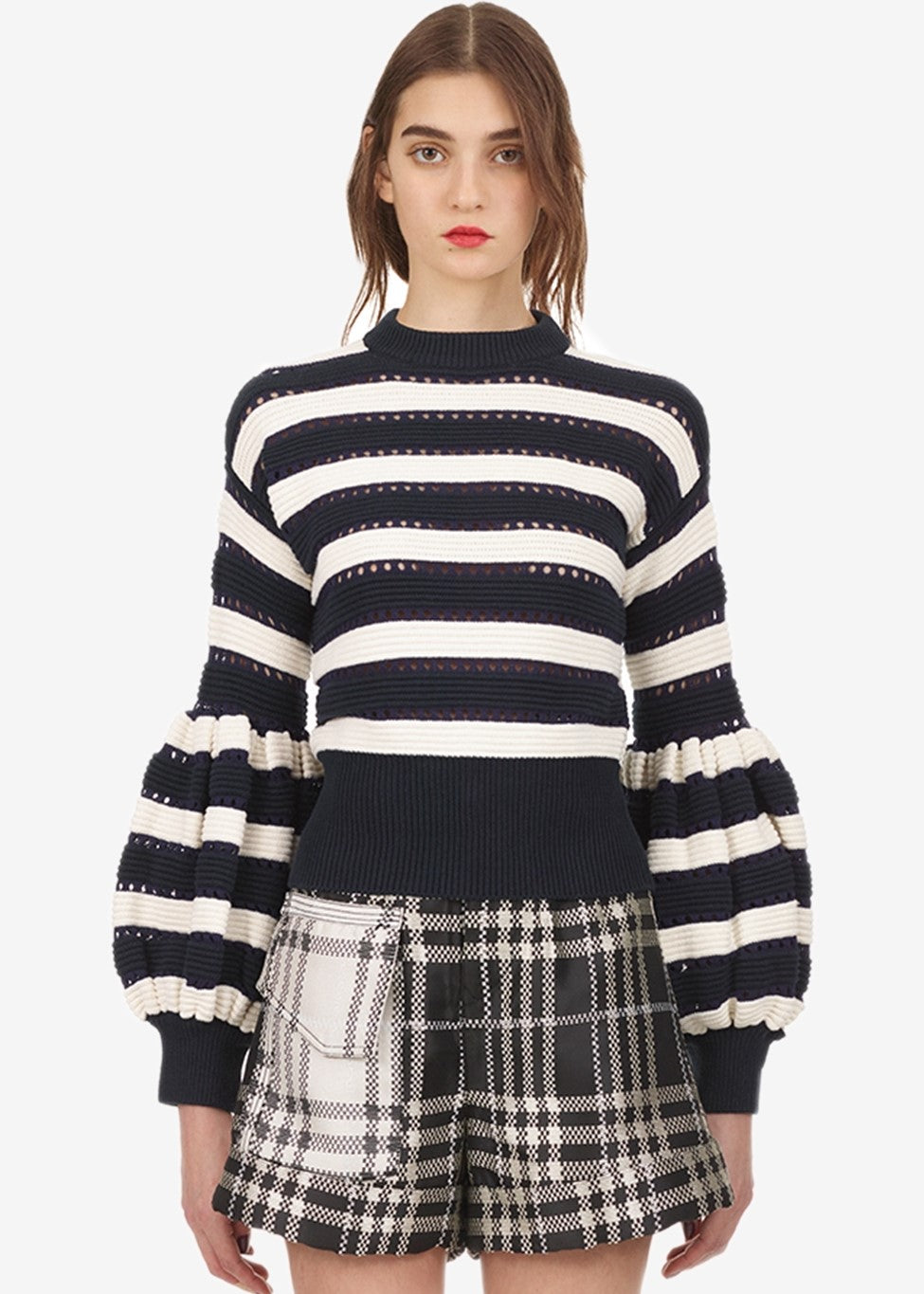 Self Portrait Striped baloon sleeve knit sweater in navy cream