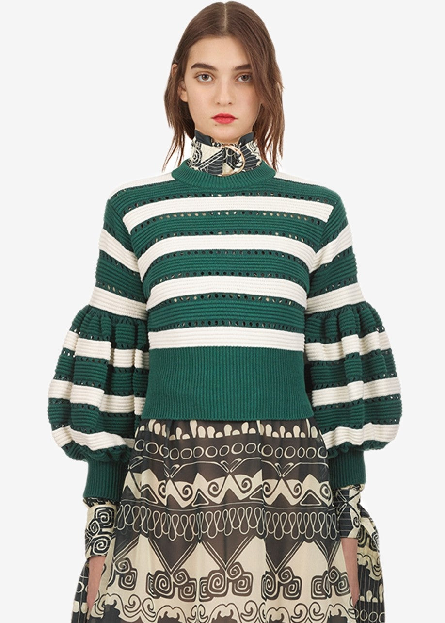 Self Portrait striped cropped sleeve knit sweater in green cream