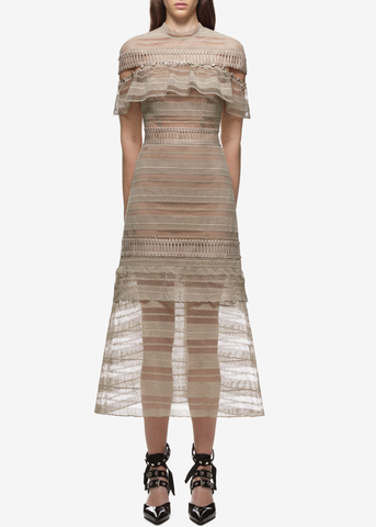 Self Portrait yoke frill midi dress nude