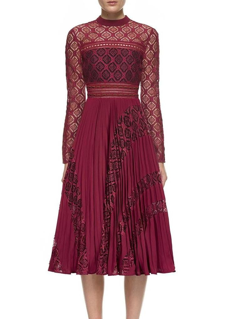 Self Portrait symm midi dress burgundy