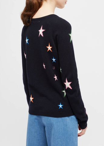 Chinti and Parker 3D star sweater in navy