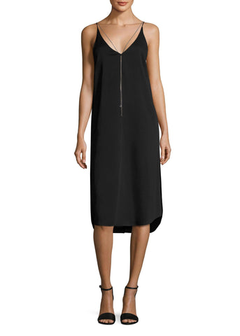T by Alexander Wang sleeveless dress with chain black