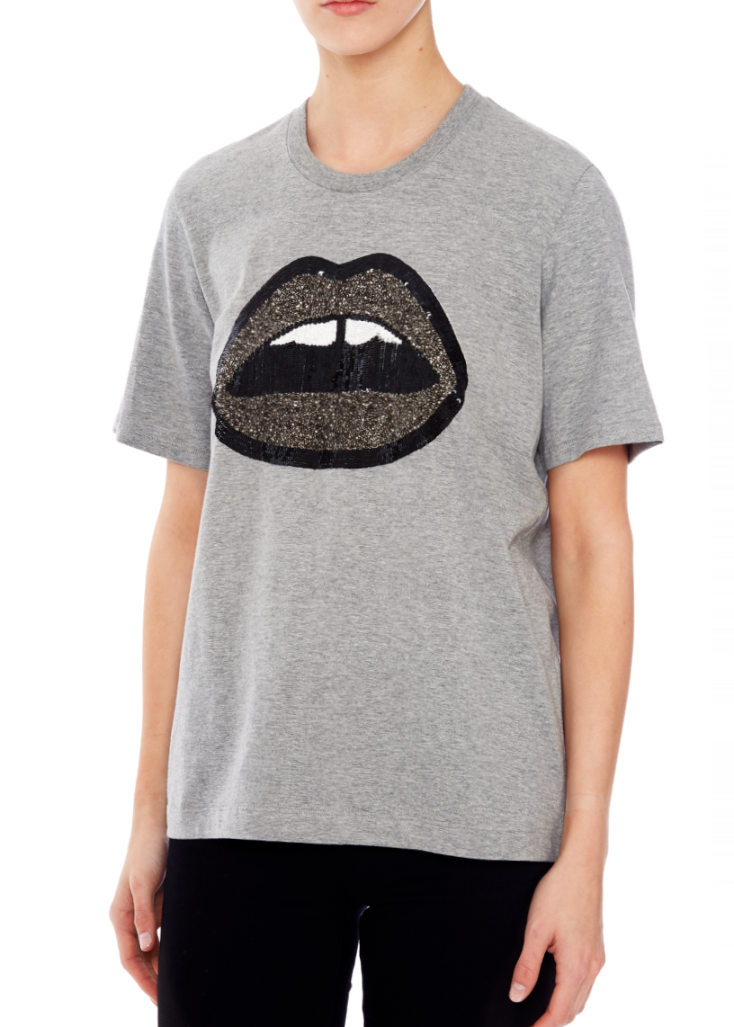 Markus Lupfer ALEX SEQUIN LARA LIP TEE in grey