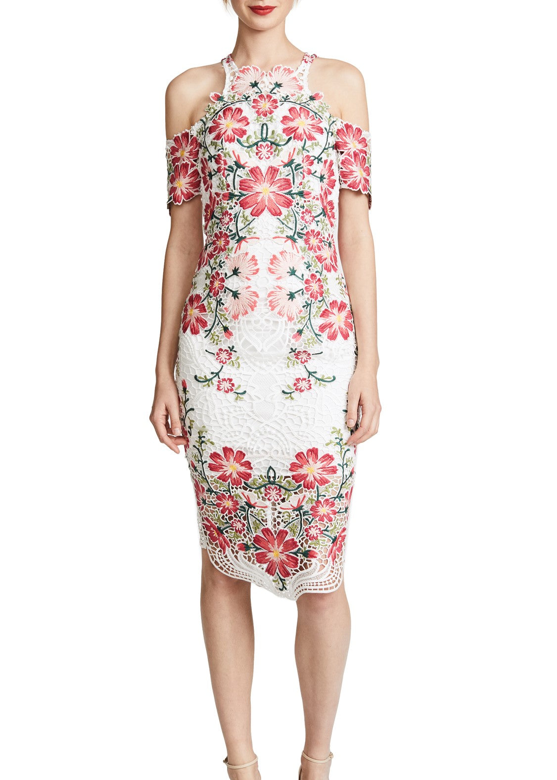 Thurley Flower Bomb Lace Midi Dress multi