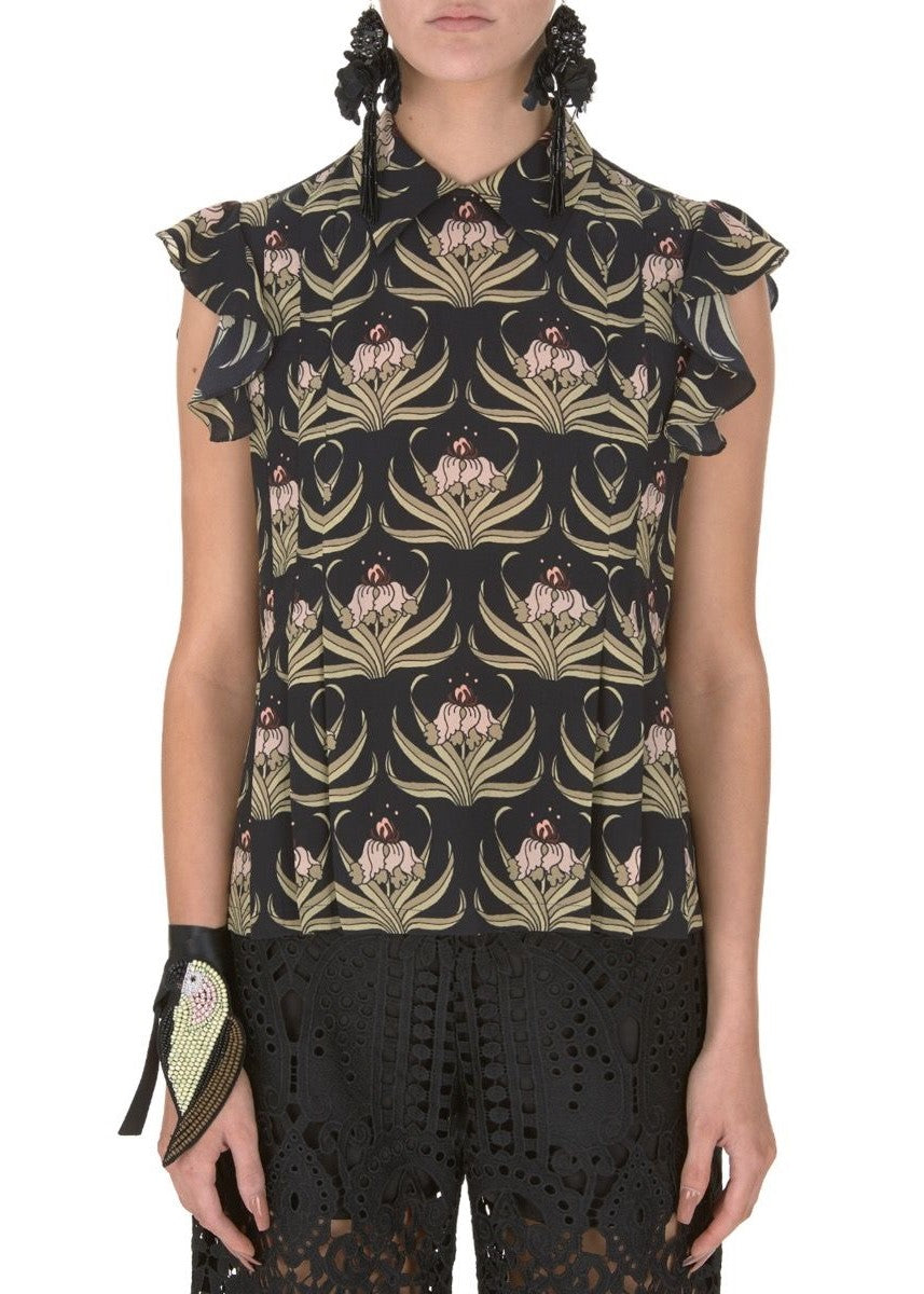 Markus Lupfer desert flower betty silk shirt in black