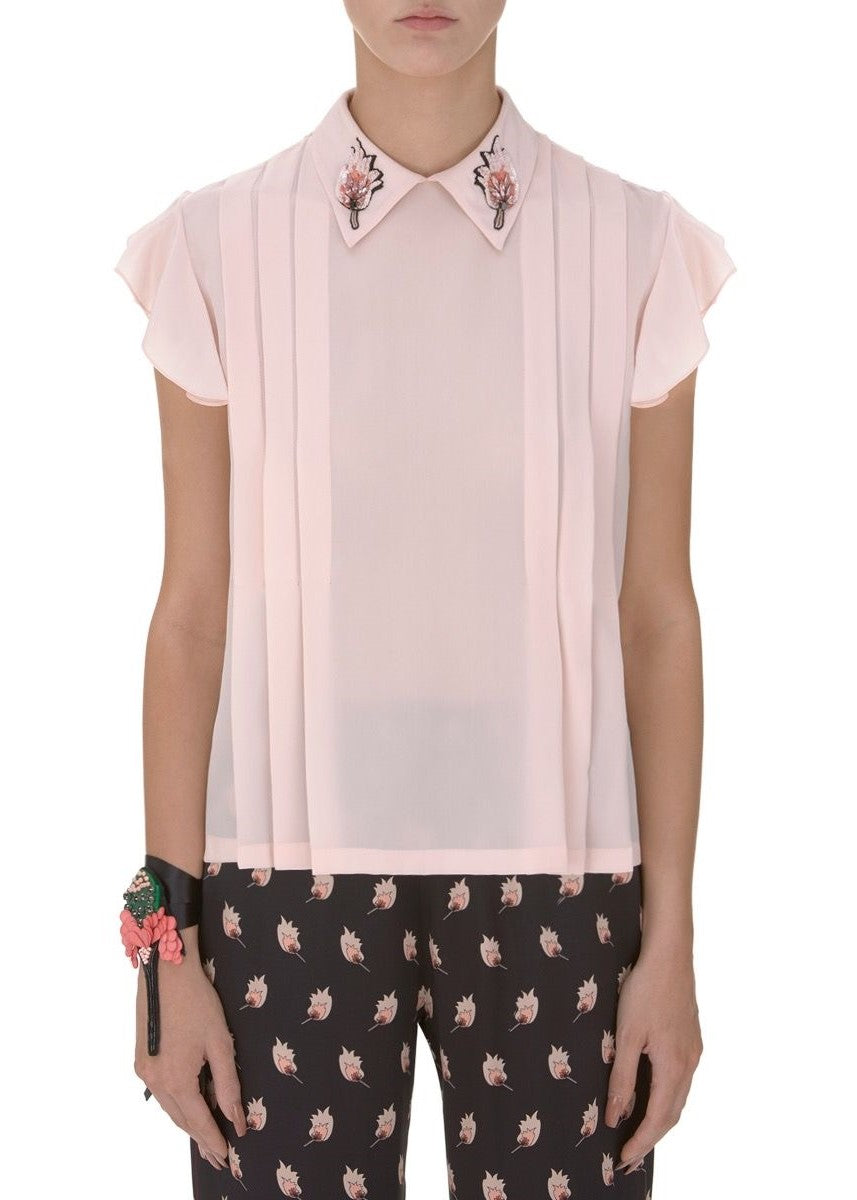 Markus Lupfer match stick sequin betty silk top in pink