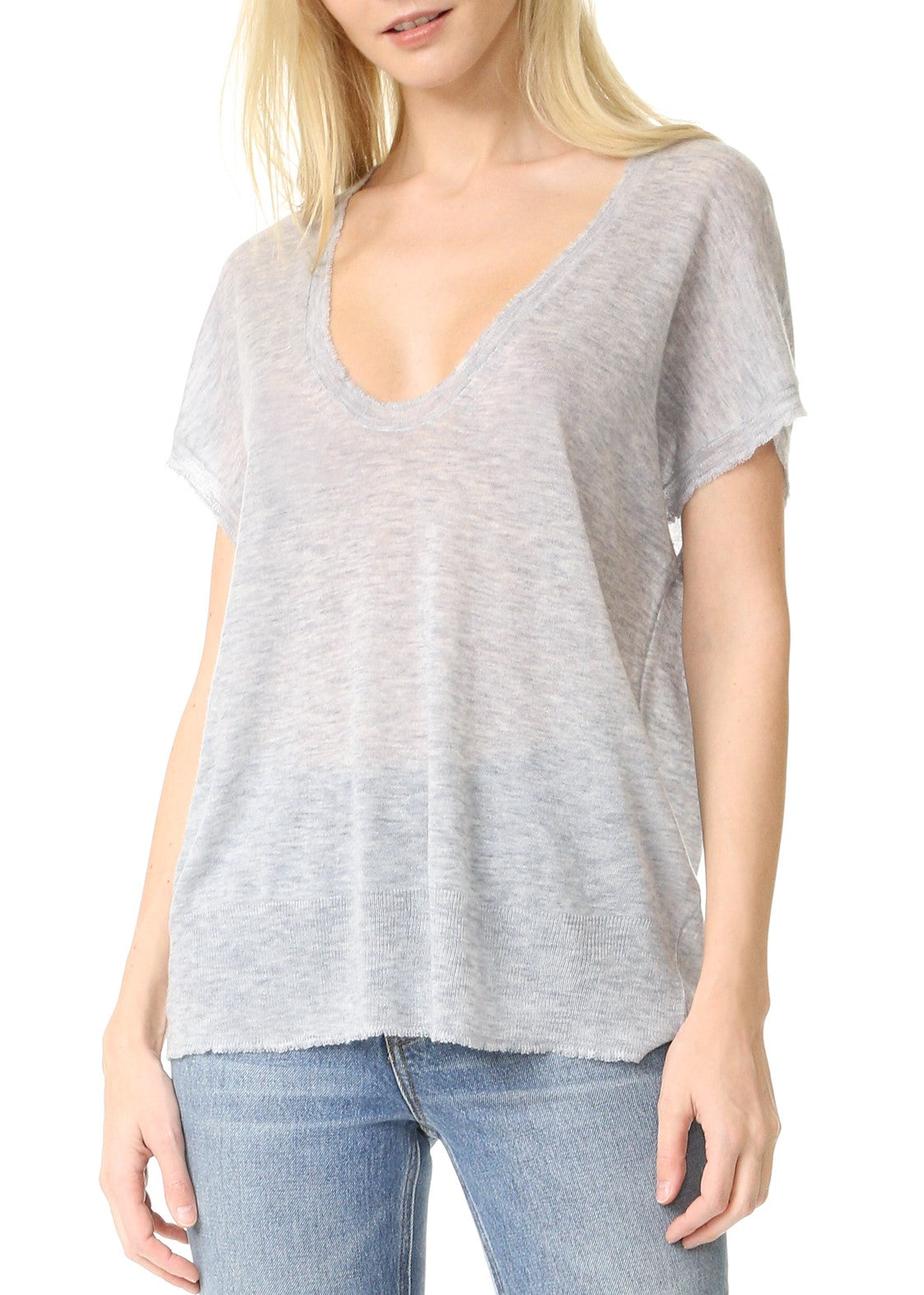 T by Alexander Wang short sleeve scoop tee grey