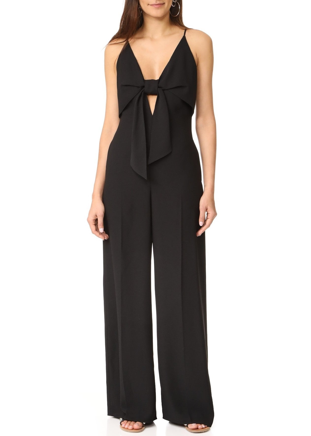 T by Alexander Wang tie front wide leg jumpsuit black