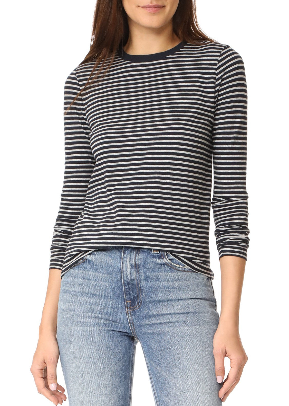 T by Alexander Wang long sleeve crewneck stripe tee navy grey