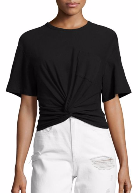 T by Alexander Wang twist front short sleeve tee black