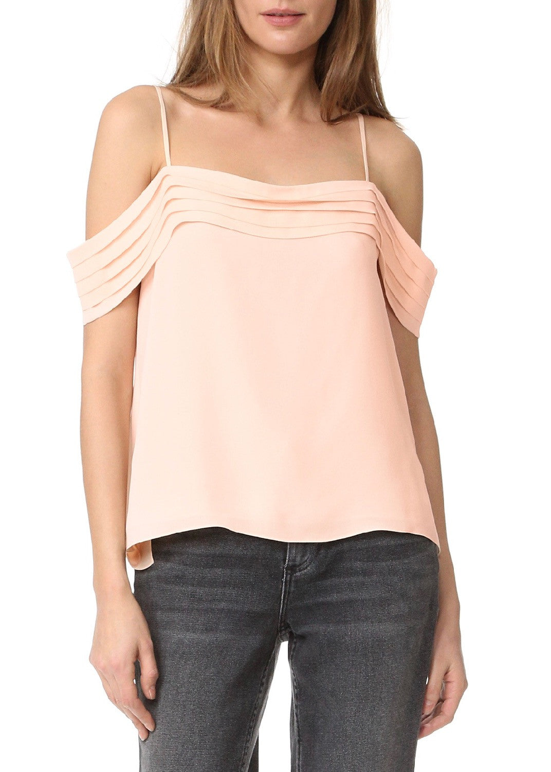 T by Alexander Wang pleated off the shoulder top blush