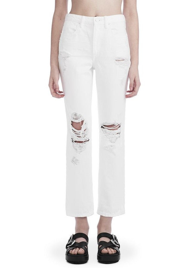 T by Alexander Wang cropped straight leg white destroyed