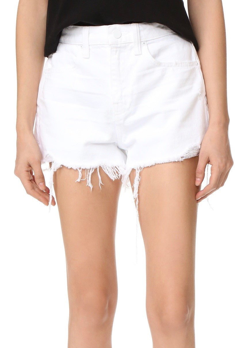 Alexander Wang Denim high rise frayed shorts bite white scratch