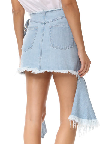 Marques Almeida frill wrap skirt with belt buckle baby blue
