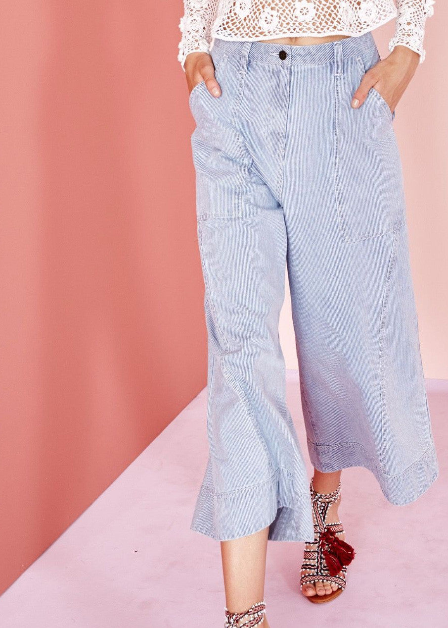 Ulla Johnson giada denim trouser stripe