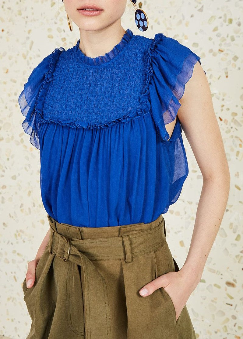 Ulla Johnson Callie top in cobalt