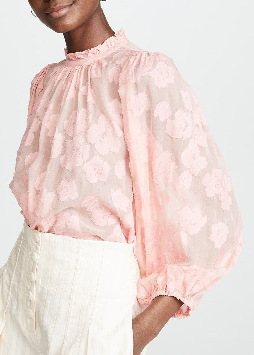 Ulla Johnson sandrine blouse in bubblegum