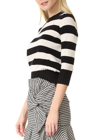Veronica Beard striped sweater black white