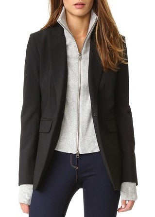 Veronica Beard black long and lean jacket with grey crystal cashmere turtleneck dickey