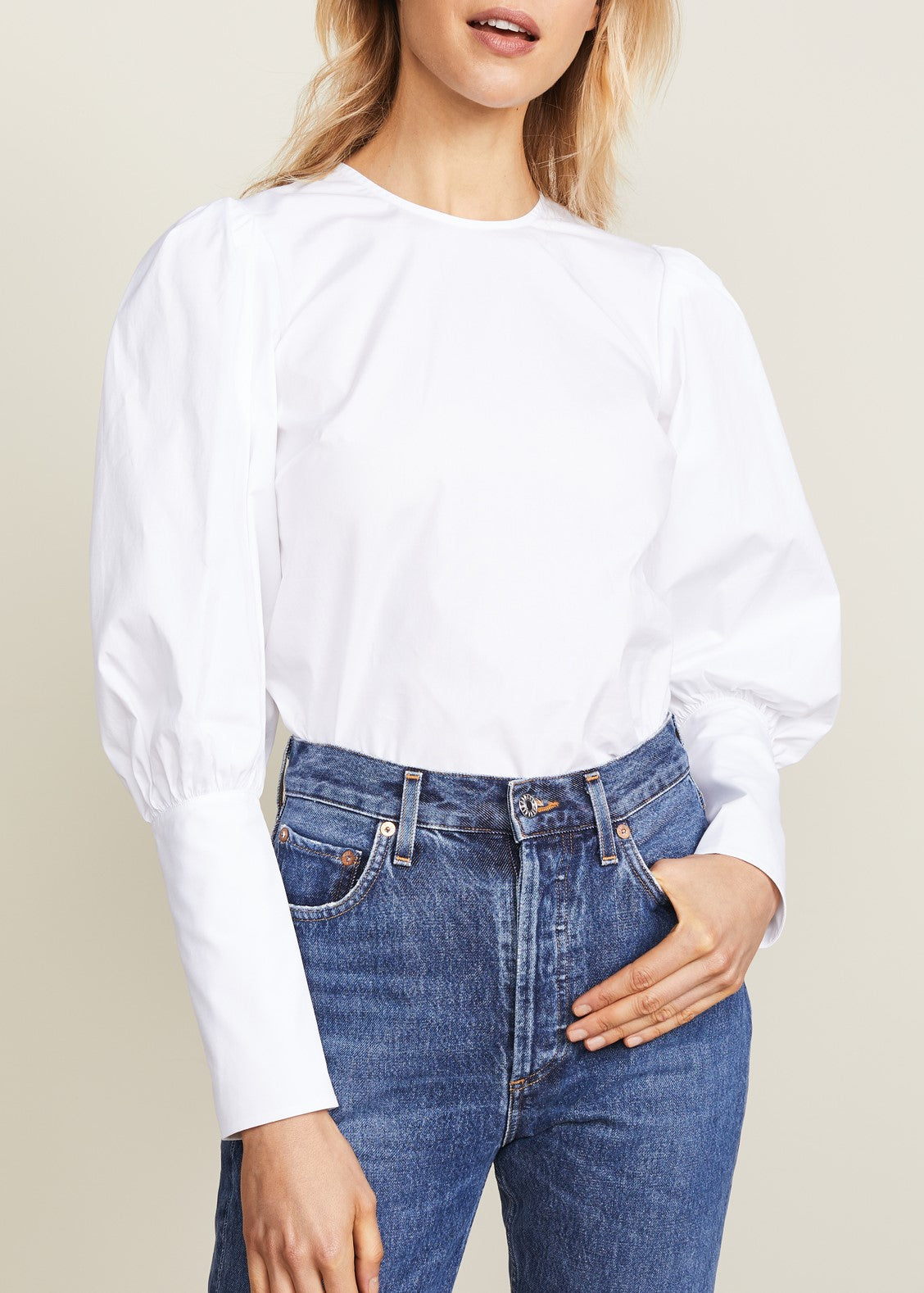 Veronica Beard Clarke puff sleeve top in white