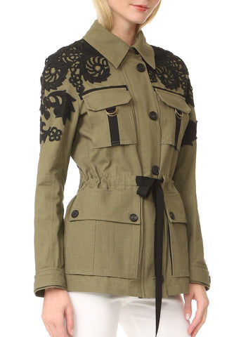 Veronica Beard Heritage Utility Jacket with Lace Army