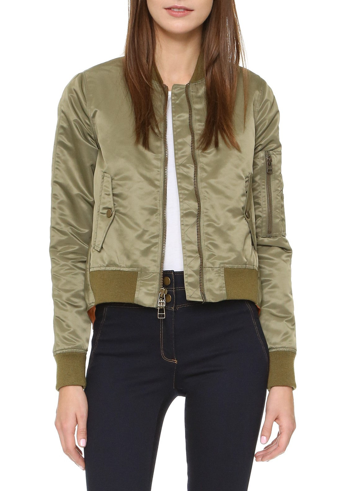 Veronica Beard hampton flight jacket green