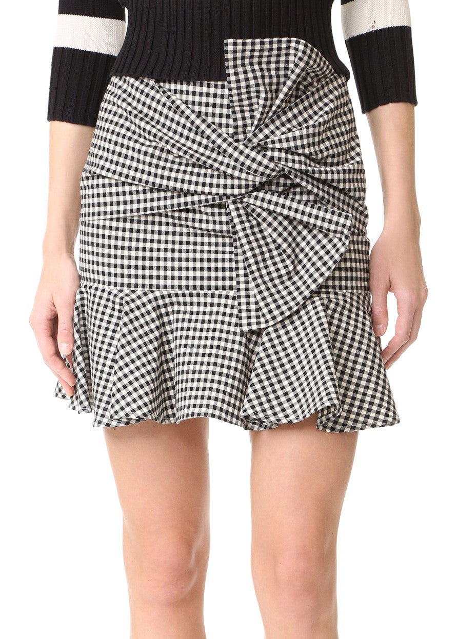 Veronica Beard picnic bow mini skirt black white