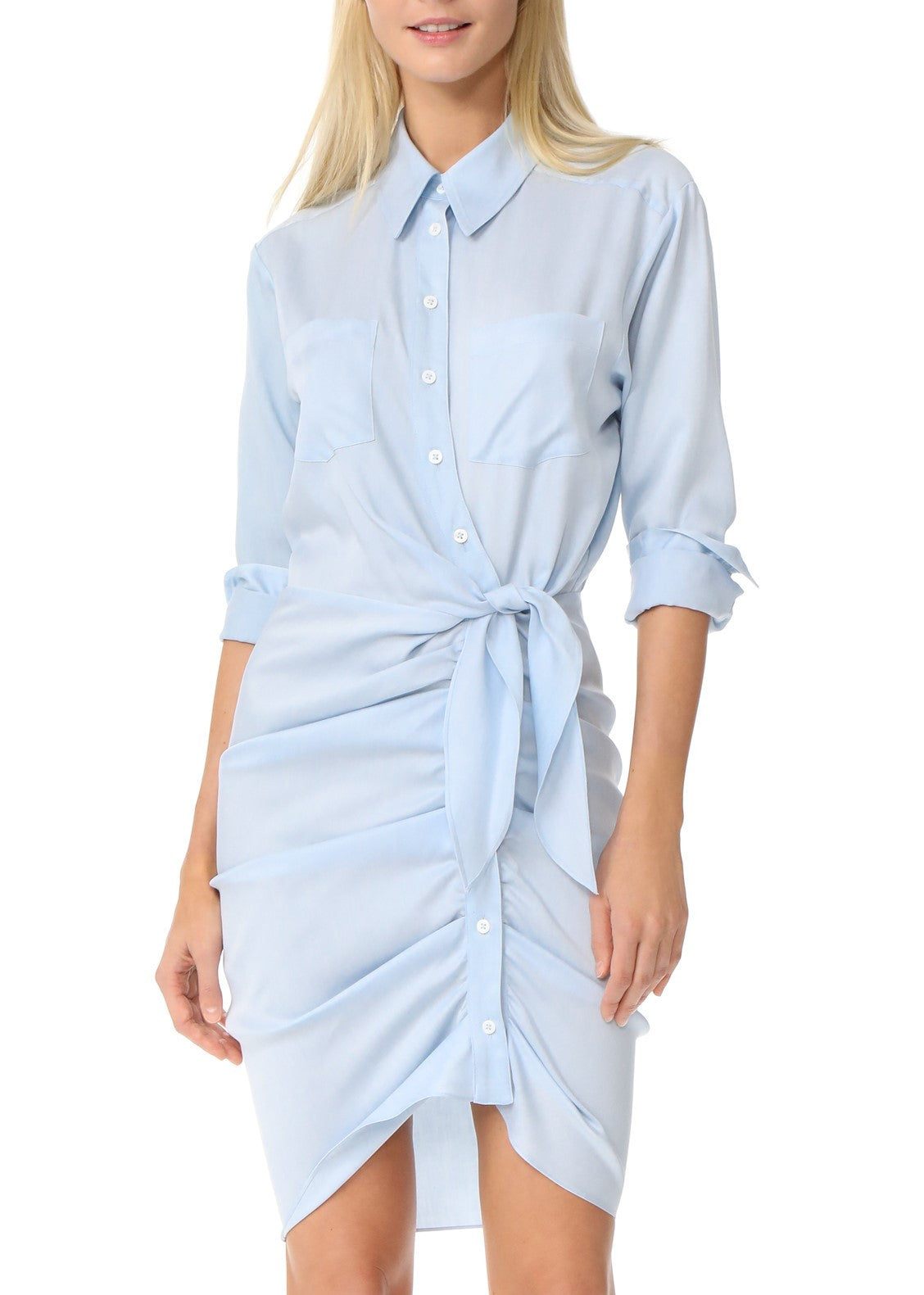 Veronica Beard sierra ruched chambray dress