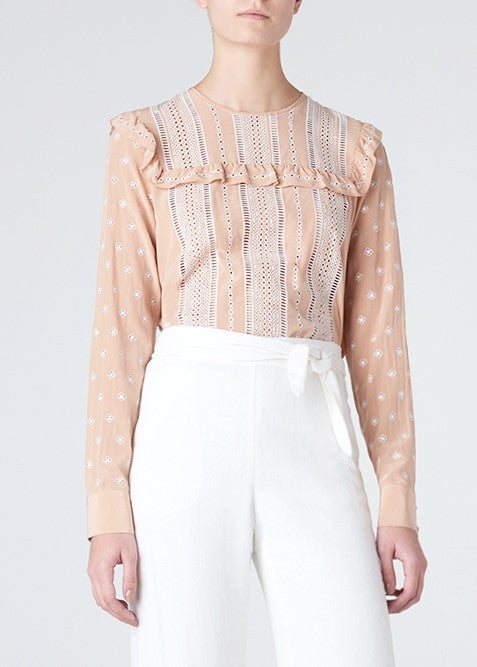 Veronica Beard winona ruffled long sleeve blouse nude