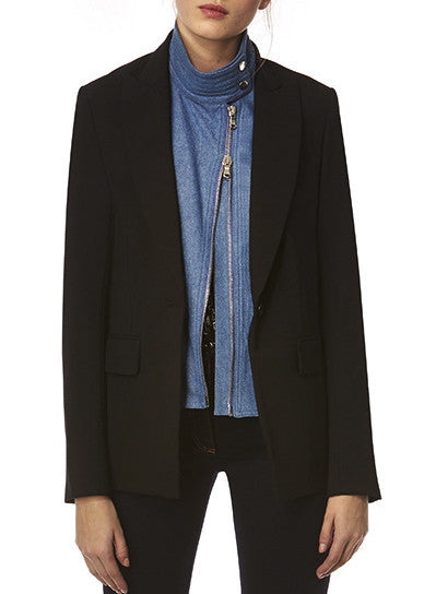 Veronica Beard black long and lean jacket w/ denim moto dickey