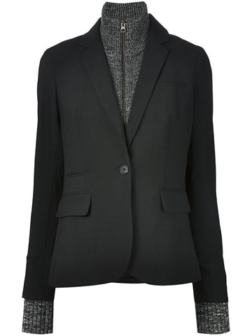 Veronica Beard long & lean black jacket with melange dickey