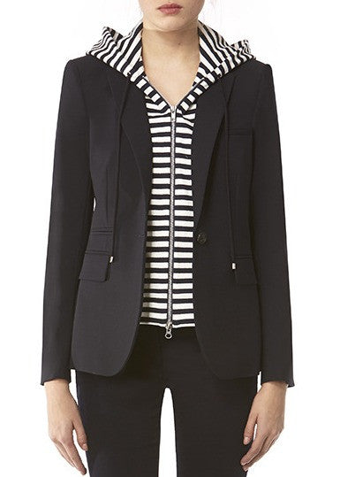 Veronica Beard navy long and lean jacket w/ navy white stripe hoodie