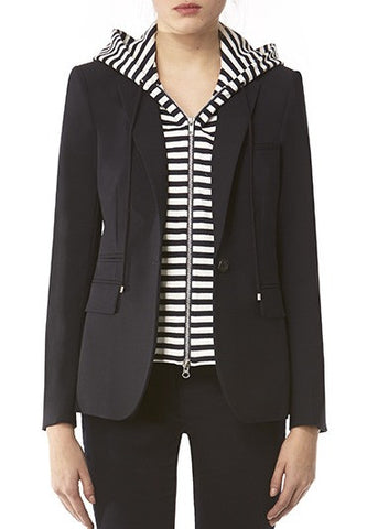 Veronica Beard stripe hooded dickey navy white