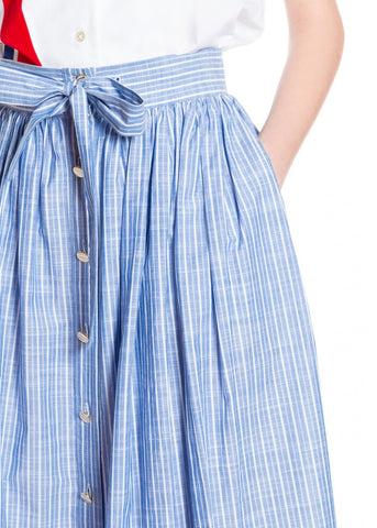 Stella Jean Gonna lunga blue and white striped skirt