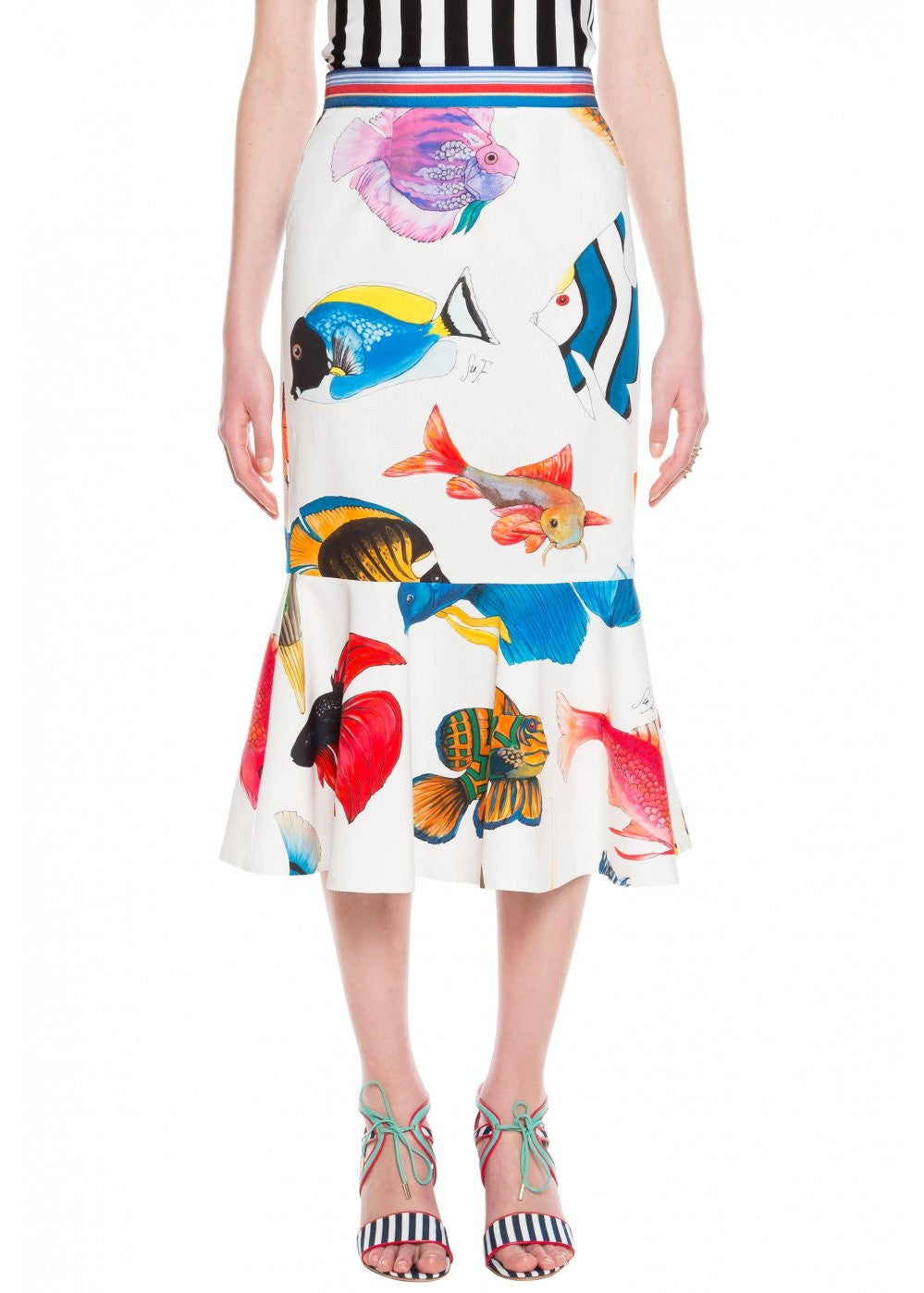 Stella Jean Gonna con balza skirt in tropical fish