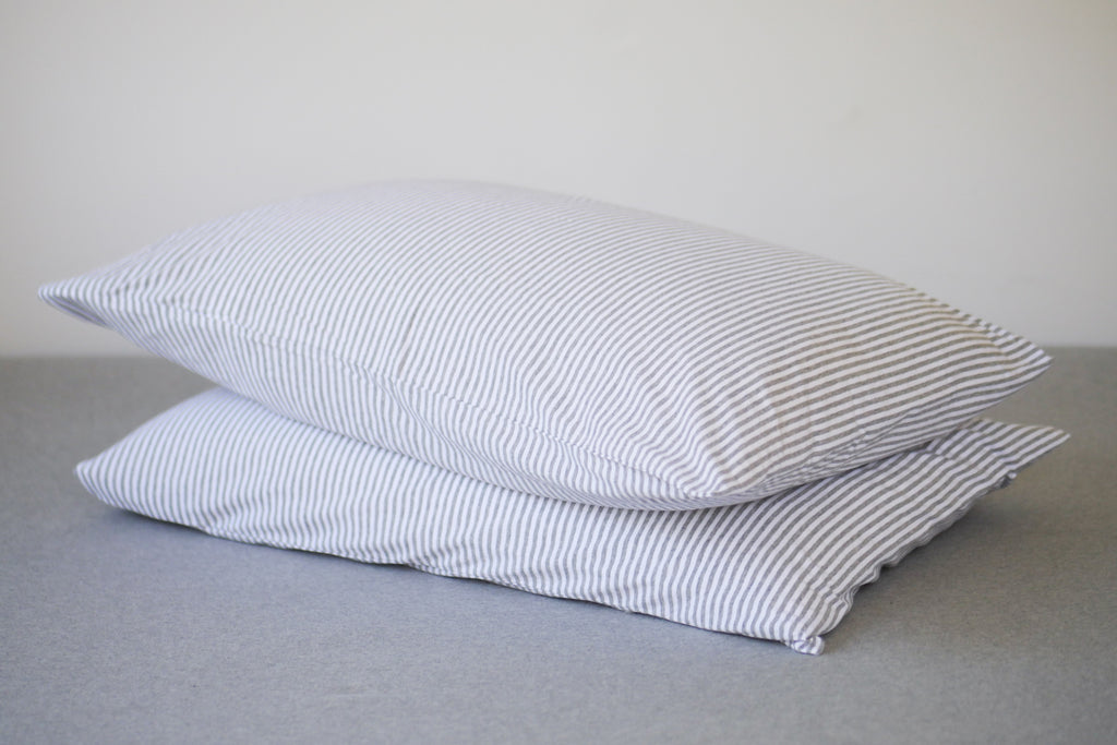 Pebble & White Stripe Pillowslips